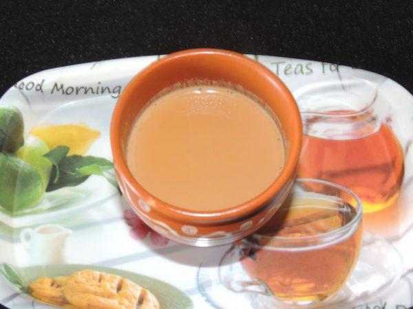 Filter tea with tea strainer. Enjoy the tea.