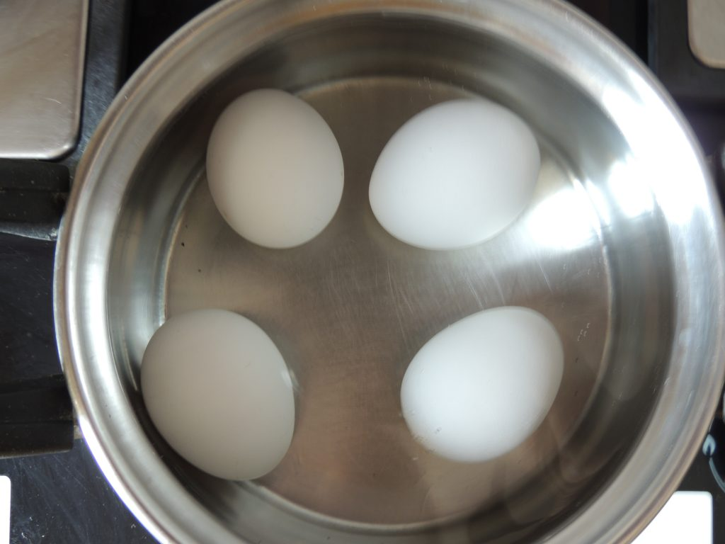 Now place egg into bowl after 10 second. Water level of water should be above 1 inch of egg level.