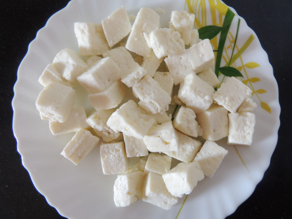 First cut the paneer into cubes