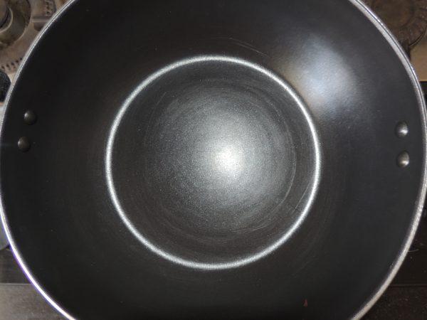 So Put the fry pan / kadai on the gas first.