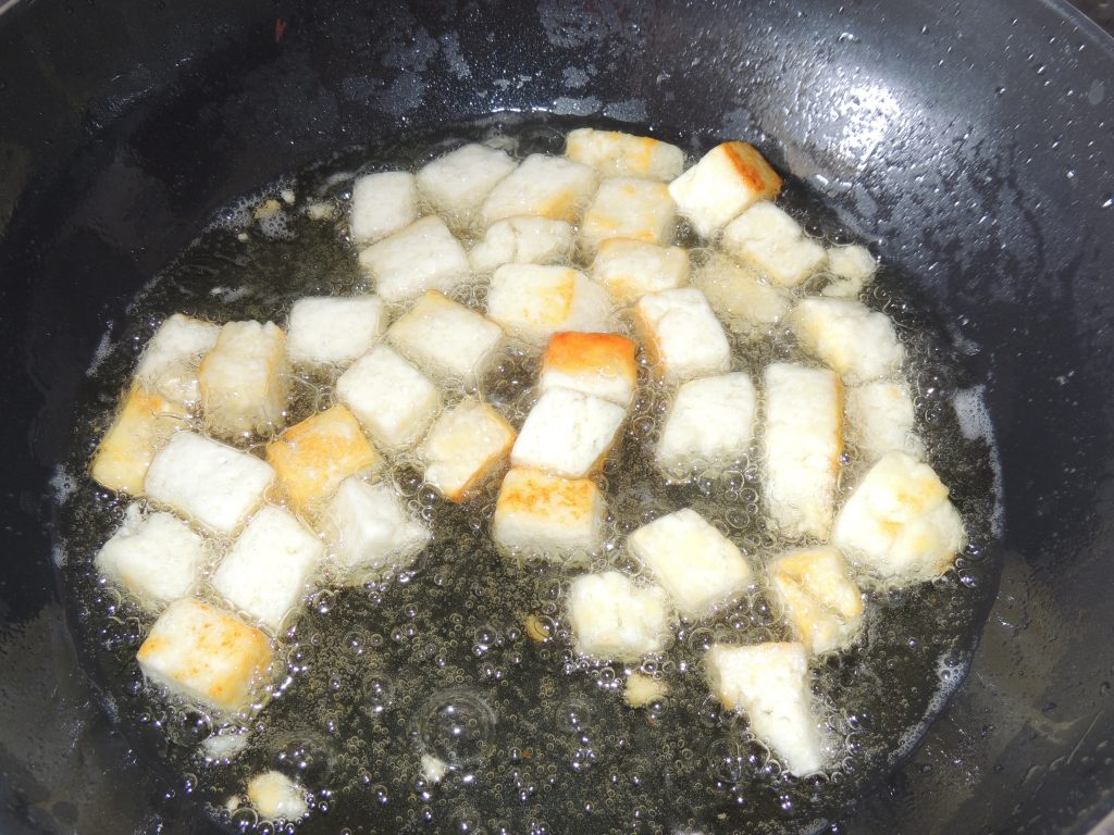 Fry the paneer until light brown