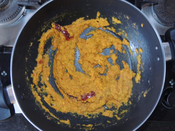 Fry the masala till the masala starts leaving the oil.