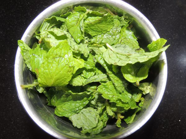 After that place 6 tbsp of mint leave in the jar of mixer grinder.