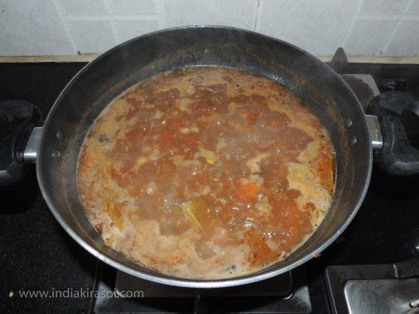 Let the vegetable boil.
