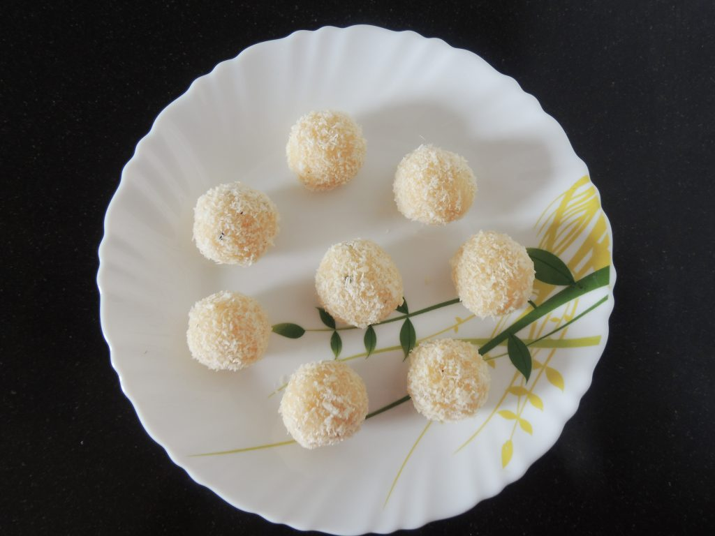 Delicious coconut laddu's are ready to eat. Enjoy this delicious and instant desert.