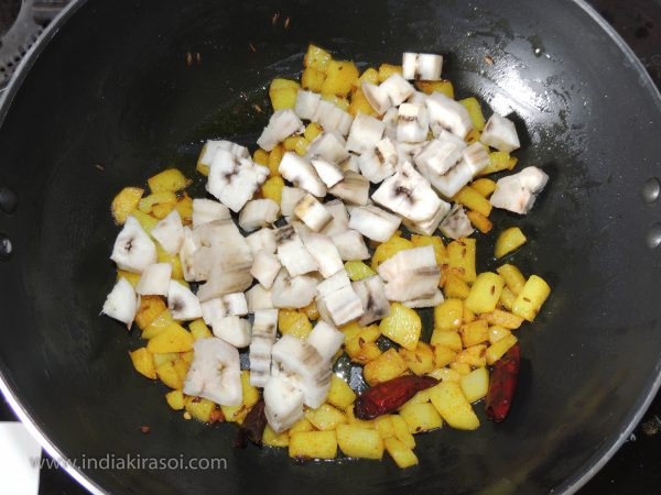 And when the potatoes are cooked add chopped bananas