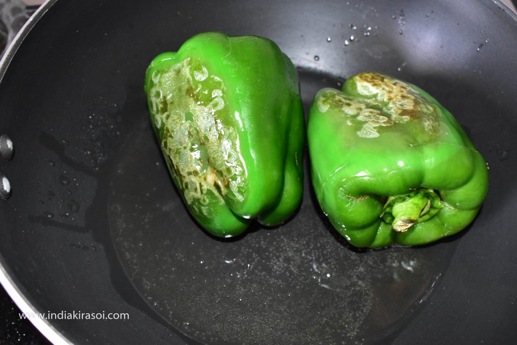 After 1 minute flip the side of the capsicum.