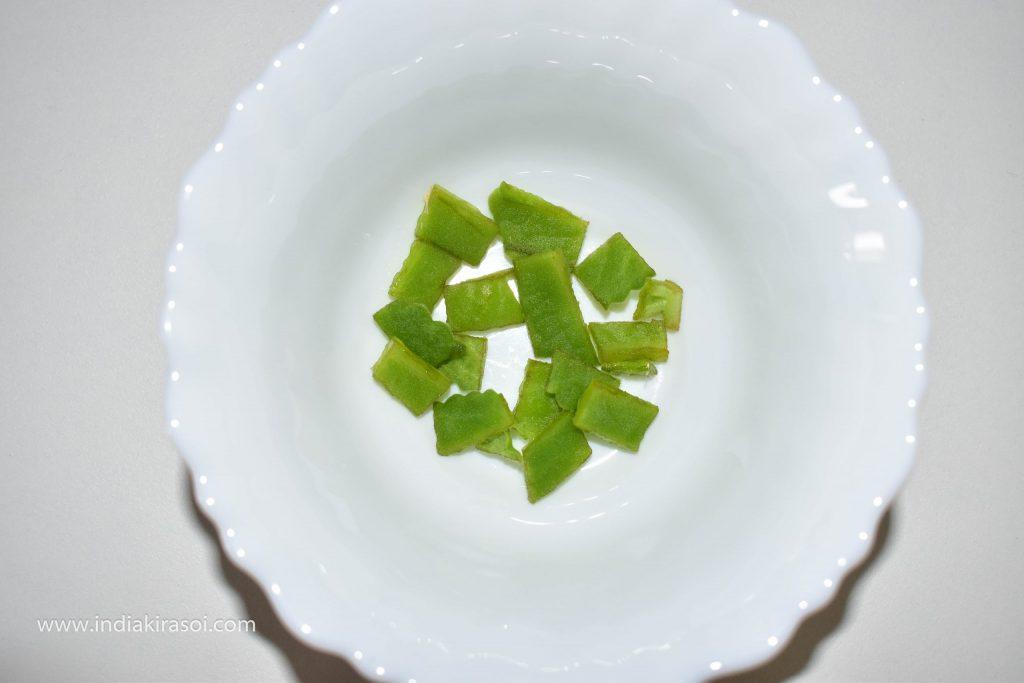 Cut the carom / ajwain leaf.