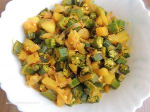 Potato Okra Dry Vegetable / आलू भिंडी सूखी सब्ज़ी