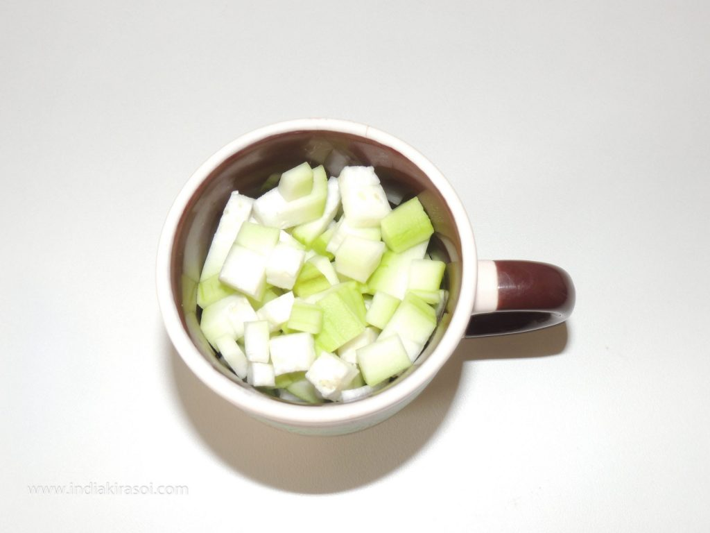 Take a cup of bottle gourd.