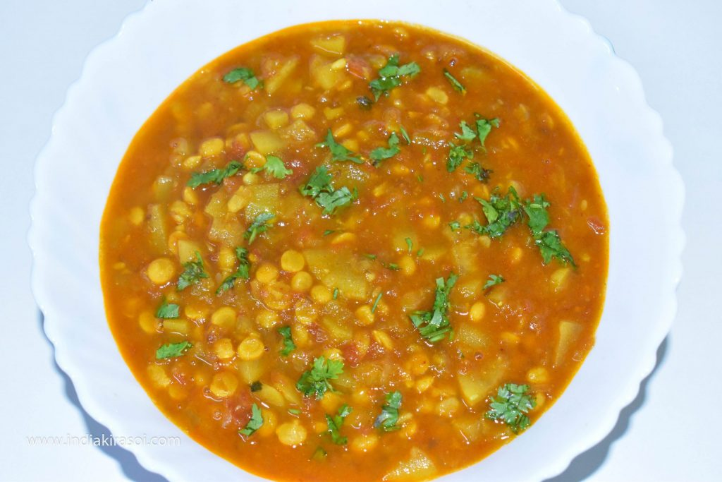 Serve with chopped coriander in the lentils.