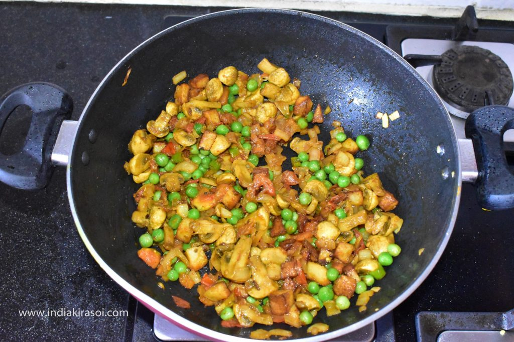 Fry the vegetable for 3 to 4 minutes.