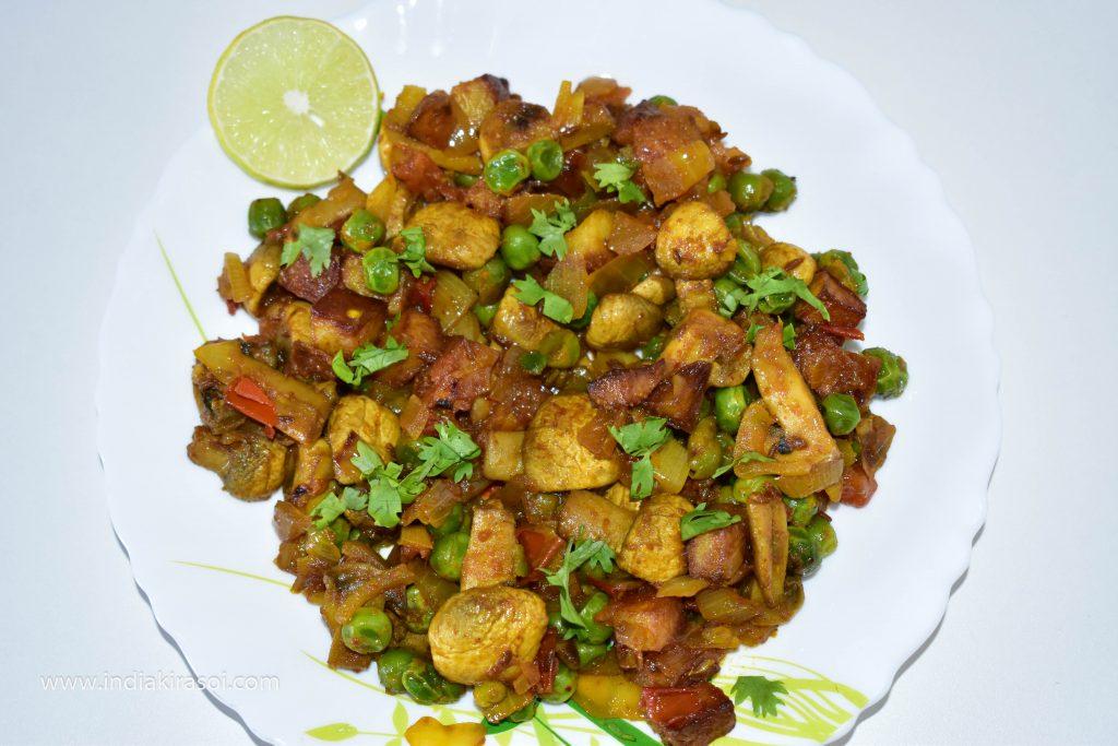 Punjabi Mushroom Matar Masala