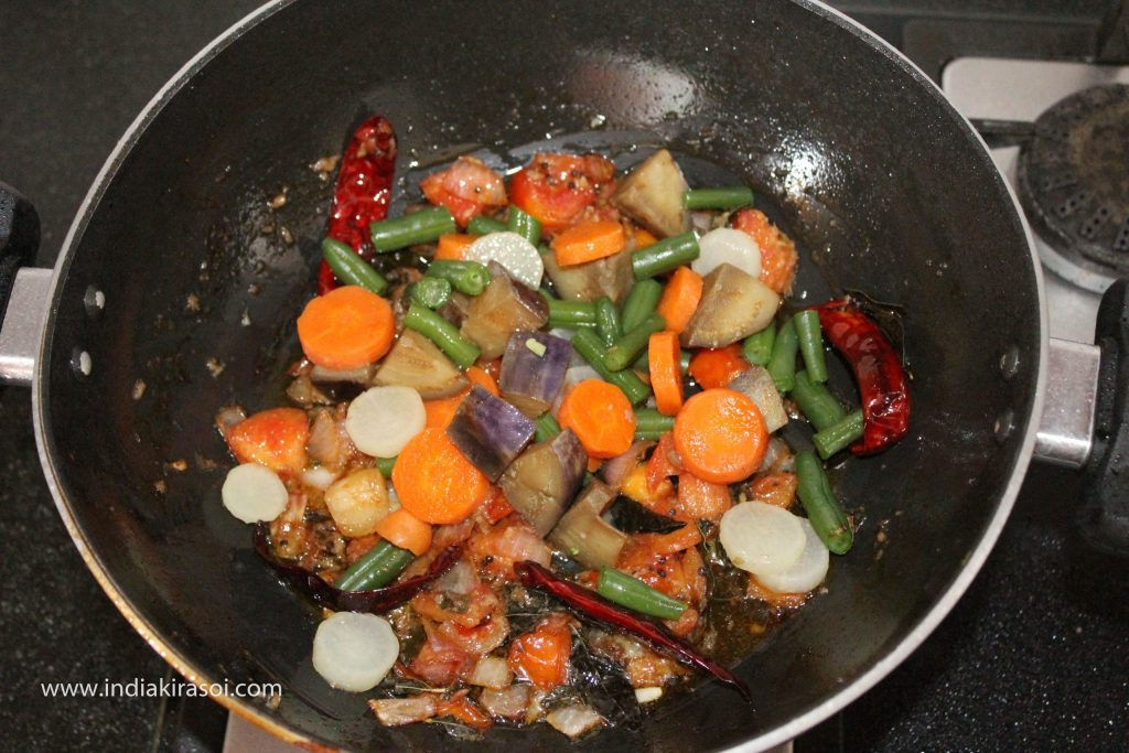 Now put the cooked vegetables in the kadhai/fry pan.