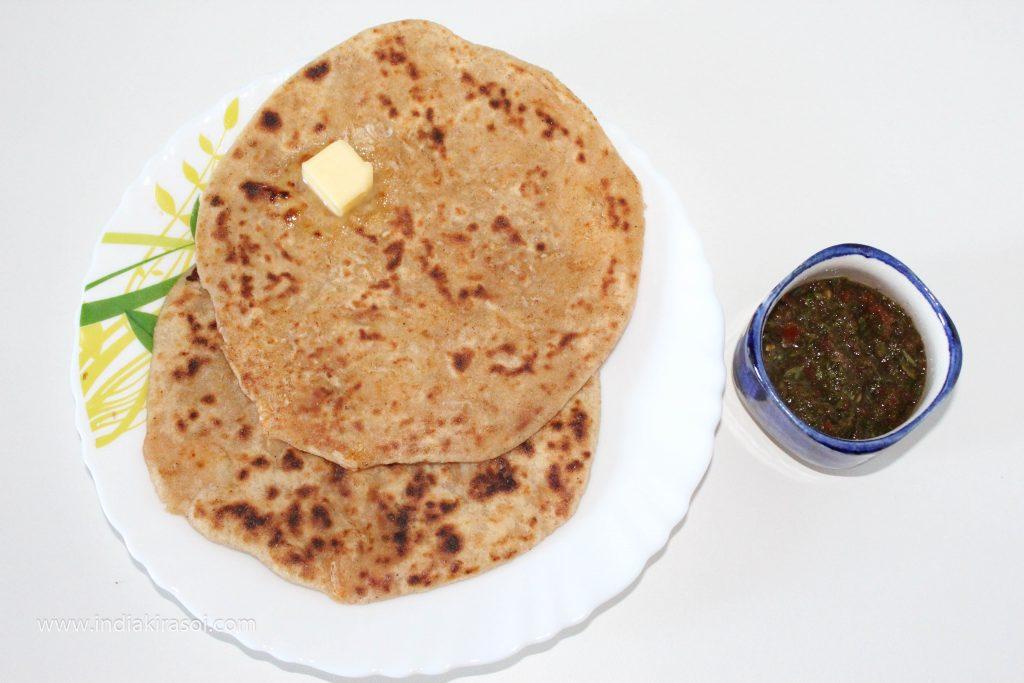 Serve radish paratha with chutney.