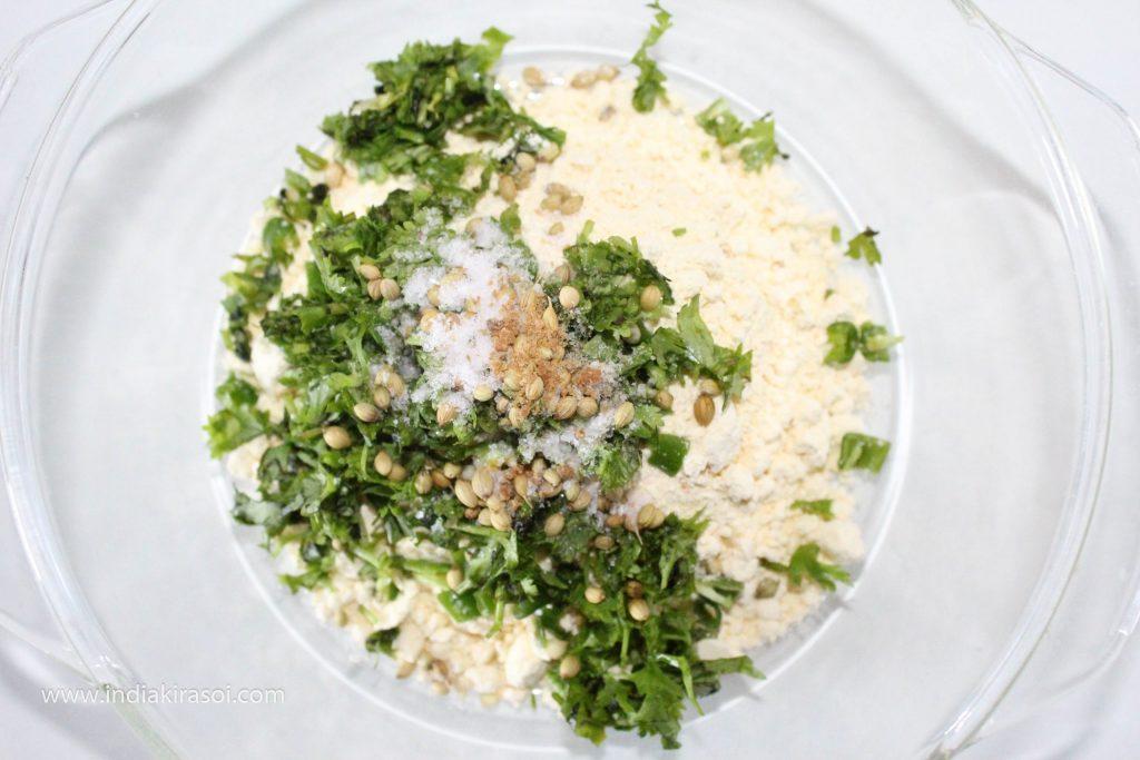 Add half teaspoon of coriander seeds, asafoetida, salt to taste.