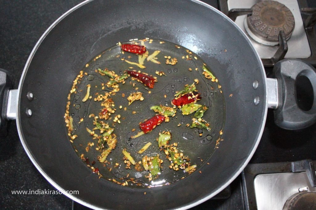 After this, put half a glass of water in the kadhai/ fry pan.