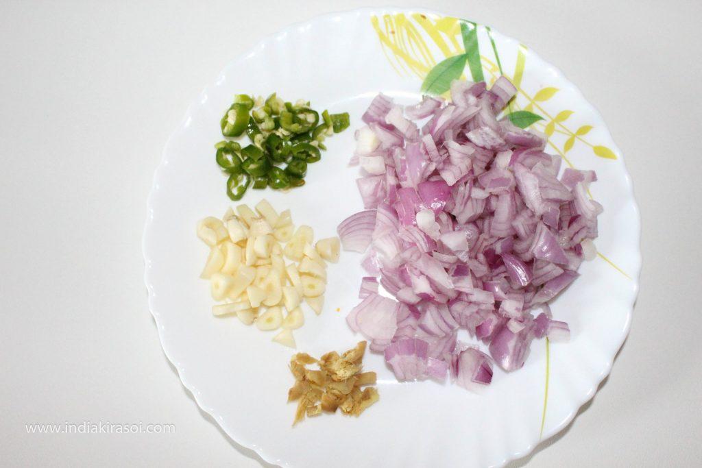 Finely chop a medium sized onion.