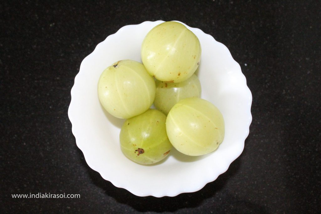 To make gooseberry/amla chutney take 5 amla/gooseberries.