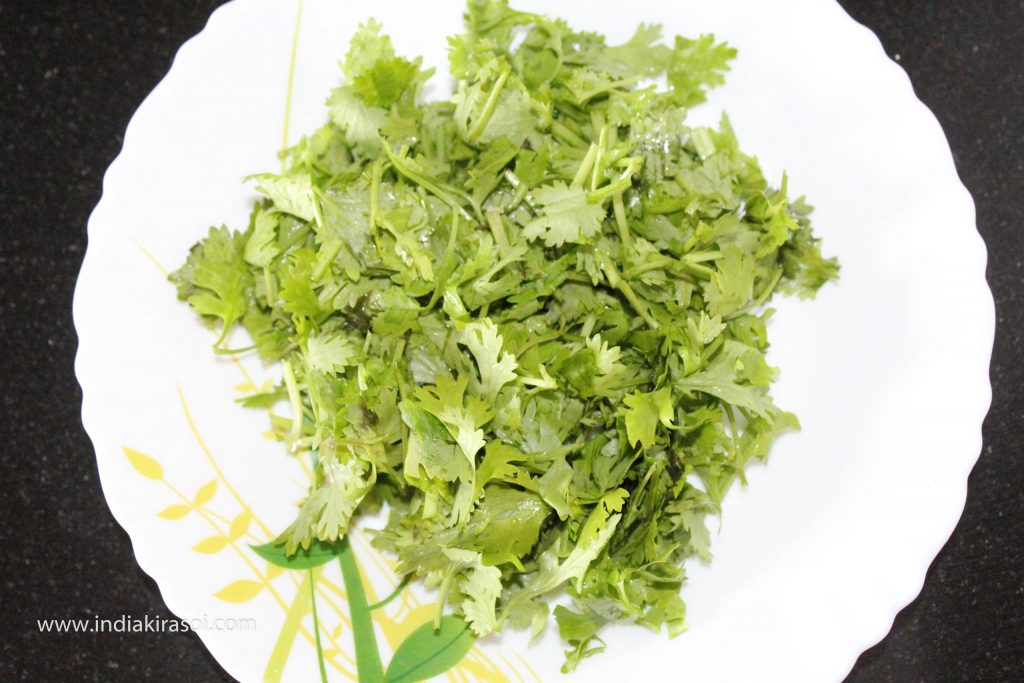 And also take 10 teaspoons chopped coriander leaves.
