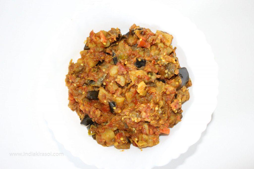 Brinjal potato vegetable is ready.