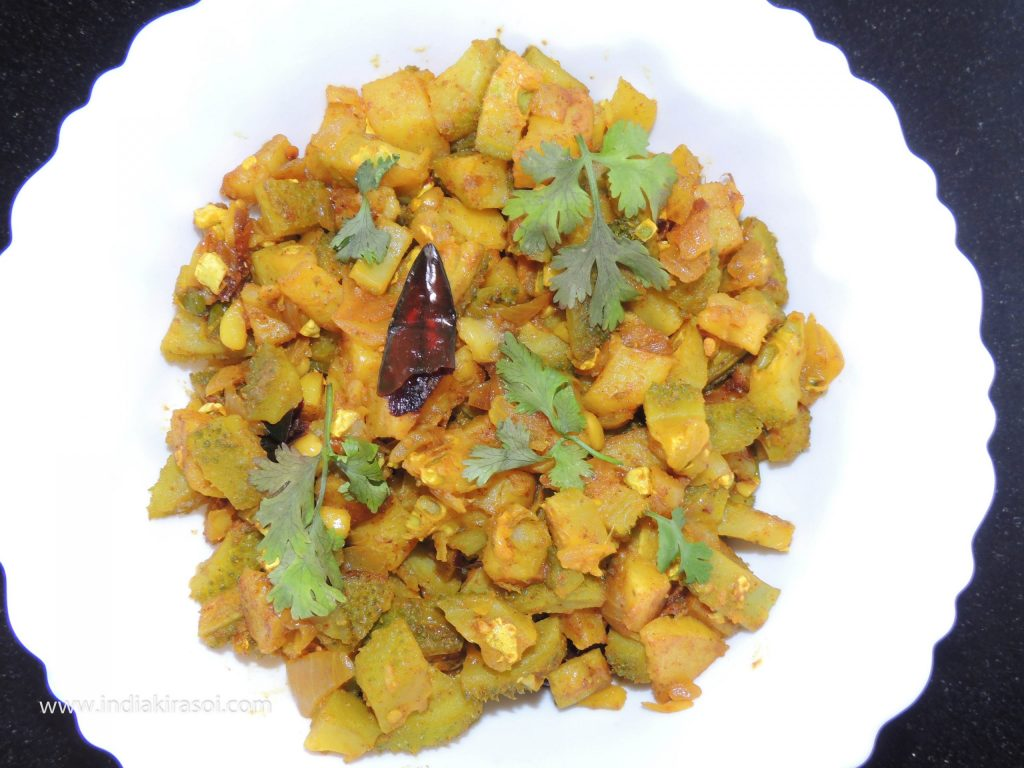 Dry potato chopped spiny gourd/ kateele parwal/ kantola recipe is ready.