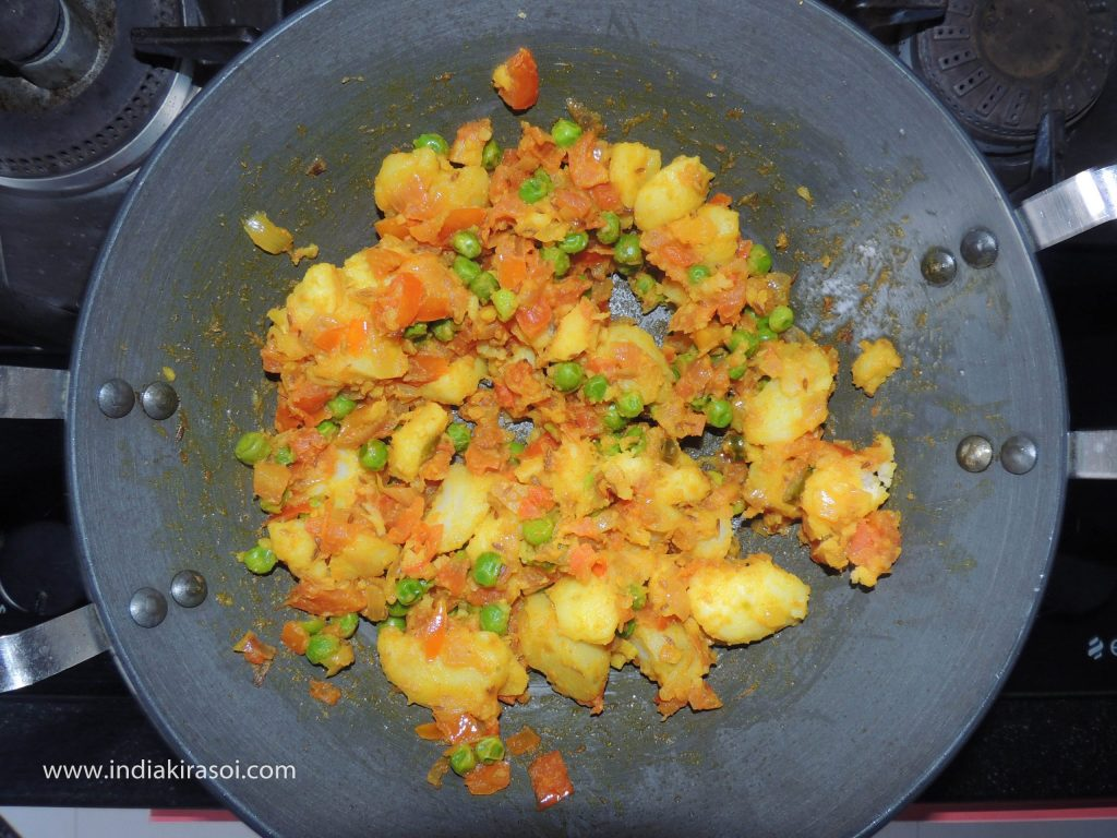 Fry the vegetable for 2 to 3 minutes.
