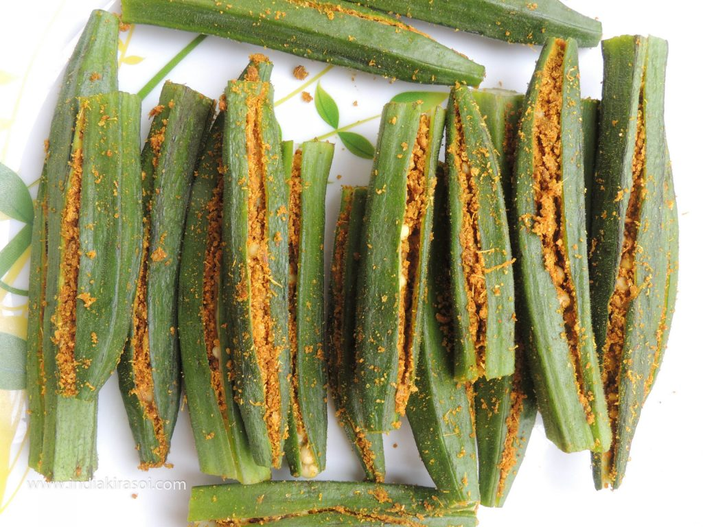 Take care not to overfill the spices in okra/ladyfinger/ bhindi.