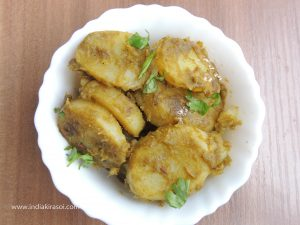 Serve hot coriander potatoes or sour potatoes.