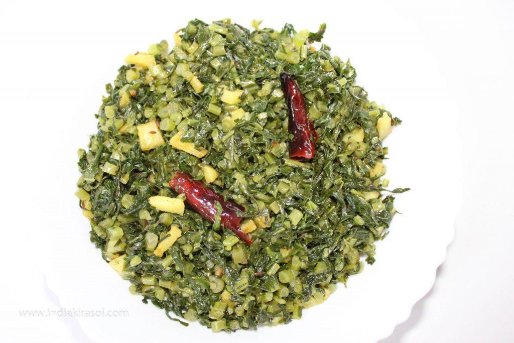 Radish leaves and Potato Dry Recipe/ Aloo Mooli Patte ki Sookhi Sabji / Aloo Mooli Bhajiya