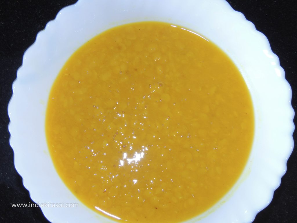 When the pressure comes out of the cooker, take out daal in a bowl.