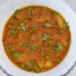 Potato Tomato Pea Kadhai Curry/ Aloo Tamatar Matar Kadhai Sabji