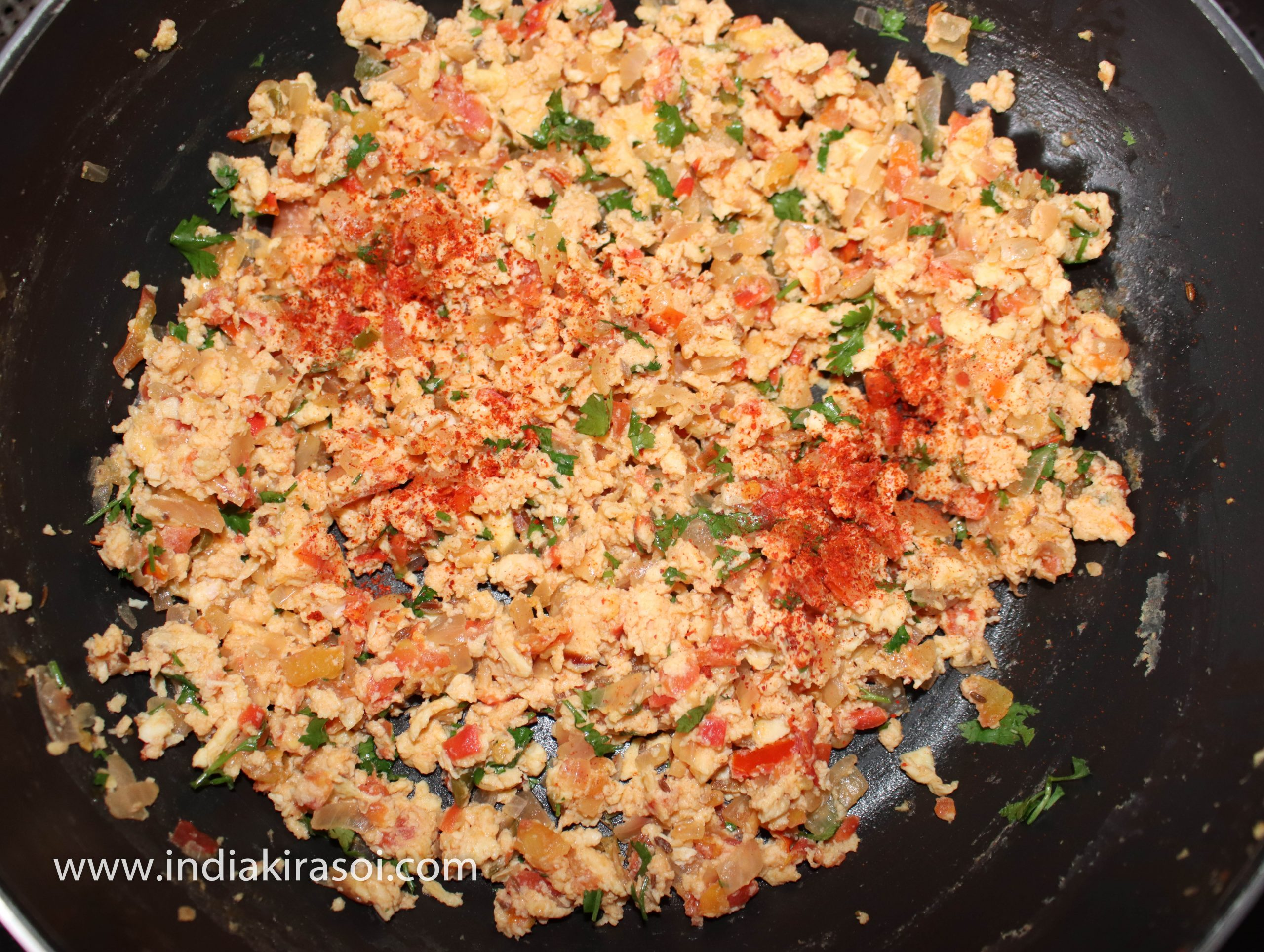 Then add 1/4 teaspoon red chili powder.